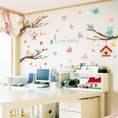 Joy Tree House Cute Animal Cartoon Removable Wall Stickers Children's Room Kindergarten Background Creative Decorative Stickers