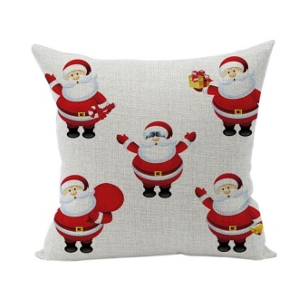 HappyLife Christmas Santa Cotton Pillowcase Decorative Super Softpillow Cover 45X45 For Home Pattern 5 - intl