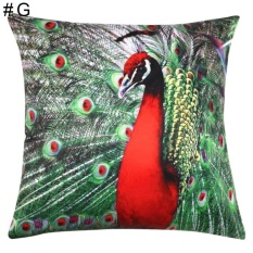 PHP 523 HappyLife Fashion Peacock Print Pillow Case Sofa Waist Throw Cushioncover Home Decor ...