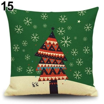 HappyLife Snowman Elk Tree Wreath Christmas Pillow Case Xmas Homedecor Linen Cushion Cover 15 - intl