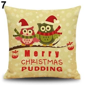 HappyLife Snowman Elk Tree Wreath Christmas Pillow Case Xmas Homedecor Linen Cushion Cover 7 - intl