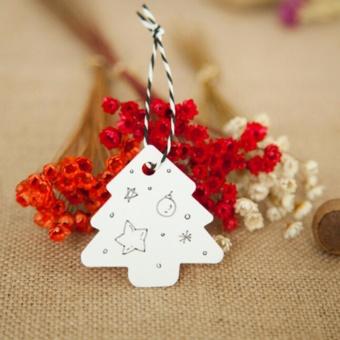 Hard 50X Christmas Tree Kraft Wedding Party Gift Card Luggage Paper Hang Tags White - intl