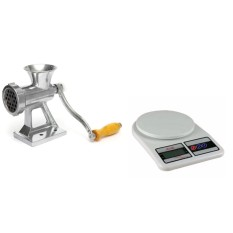 Heavy Duty Hand Operated Meat Grinder Beef Noodle Pasta Sausages Maker With Digital 5kg/1g Lcd Electronic Kitchen Weighing Scale By Happy Choice.