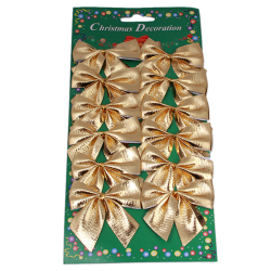 HengSong Christmas Decoration Non-woven Bowknot Gold