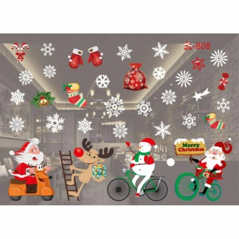 HengSong Christmas Window Stickers Wall Sticker Christmas Santa Claus Glass Windows Transparent Film Wall Stickers Shop Home Decal Decor #808 - intl