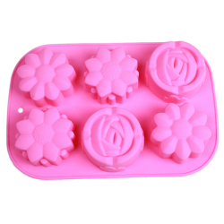 HengSong Rose Flower Cookies Mould Puding Tools Pink