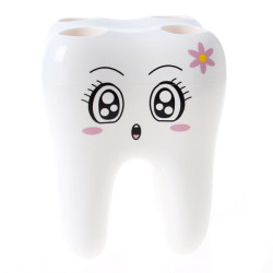Hengsong Tooth Shape Toothbrush Holder (White)