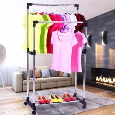 High Quality DIY Double Pole Stainless Steel Clothes Rack