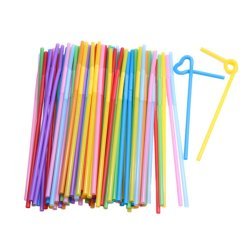 HKS 100 Pcs Flexible Plastic Bendy Mixed Colours Party Disposable Drinking Straws (Intl)