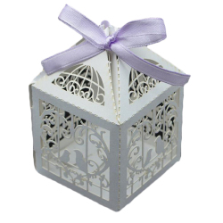 HKS Candy Boxes With Ribbon Love Heart  Laser Cut White (Intl)