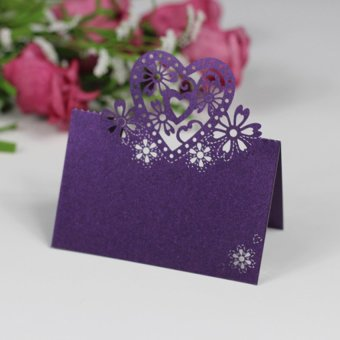 HKS Cut-out Wedding Party Christmas Table Decor Place Name Cards 12 Pcs Purple - Intl