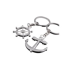 HKS Fashion Keyfob Anchor Helm Rudder Lot Key Ring Silver (Intl)