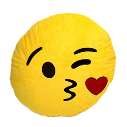 HKS Kissing Emoji Emoticon Round Cushion (Yellow) (Intl)