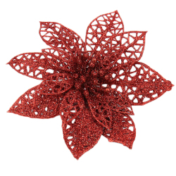 HKS Xmas Tree Decor Glitter Hollow Flowers 2 Pieces Red (Intl)