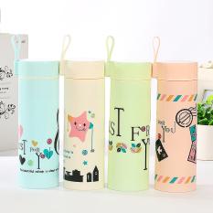 HL Monogram Double Glass Mug Anti-Scalding Cups 390Ml-- Light Pink - intl