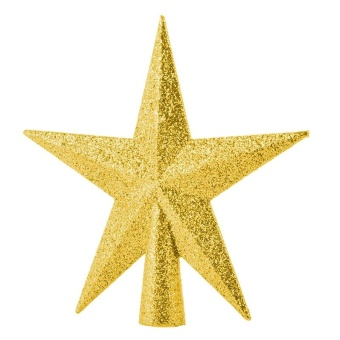 Home Decor Christmas Ornament Five-pointed Star Christmas Tree Topper 11cm Gold - intl