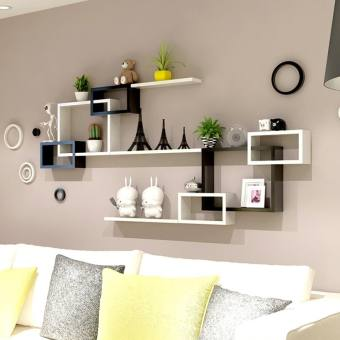 Home Furnishing Rack Bedroom Wall Shelf Wall Shelf Set Of 8 Book Floating  Shelves Storage Creative