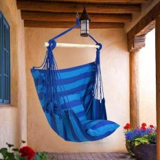 Home Outdoor Cotton Rope Hammock Chair Sofa Porch Swing Blue Intl
