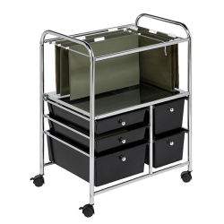 Honey Can Do CRT-01512 5-Drawer Rolling Office File Cart (Black) - with Wheels for easy push and roll. Mobile organizer with plastic drawers.