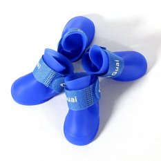 Hot Dog Boot Waterproof Anti-Slip Pet Shoes Boot Dog Puppy(Blue)