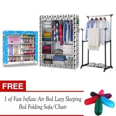 DIY Non-Woven Foldable Portable Storage Cabinet and Amazing High Quality 6 Layer Double Capacity Shoe Rack Cabinet (Bluedog) also Adjustable Double Pole ...