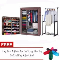 ... 6 Layer Shoe Rack Cabinet (BlackStripe) and Adjustable Double Pole Clothes Rack with FREE 1 of Fast Inflate Air Bed Lazy Sleeping Bed Folding Sofa/Chair