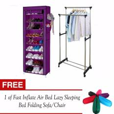 J&J Practical 9 Layer Cloth Shoe Rack Storage with Cover (Purple) with Adjustable Double