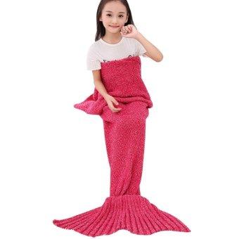 jiechuan Crochet Mermaid Tail Blanket for Kids Teens Adult,Crochet Knitting Blanket Seasons Warm Soft Living Room Sleeping Bag Best Birthday Christmas Gift
