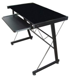 JIT717 Glass Top Computer Table (Black)