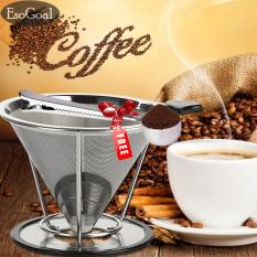 Jvgood Pour Over Coffee Filter,stainless Steel Reusable Double Mesh Paperless Coffee Dripper W/ Bonus Coffee Scoop & Bag Clip - Intl By Jvgood.