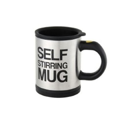 Keimav Self Stirring Coffee Mug (Black/Silver)