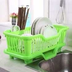 638446bcc3a3 Kitchen Dish Drainer Drying Rack Holder Organizer Tray (Green)
