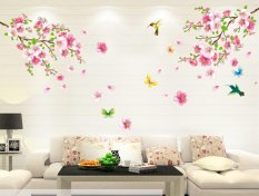 Kobwa Wall Art Sticker With Flowers And Birds Home Living Room Decor Decal    Intl