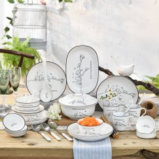 Tableware Set 36 Head Ceramic Bowl Dishes Set Korean Style Simple Household Tableware Set Bowls And Chopsticks Bowl And Dish Housewarming Gift By Taobao Collection.