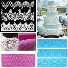 Lace Silicone Mold Mould Sugar Craft Fondant Mat Cake Decorating Baking Tool - intl