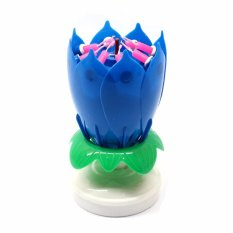 LOVEHOME Musical Lotus Flower Rotating Birthday Candle Light Blue