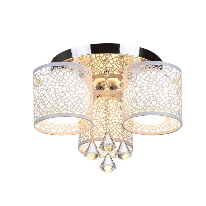 LED Modern Crystal Wrought Iron Ceiling Light Chandelier Living Room Creative Wedding Room Bedroom Ceiling Light