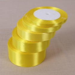 Lemon Yellow25 Yards Silk Satin Ribbon Wedding Party Decoration Gift Wrapping Christmas Year Apparel Sewing Fabric DIY 50mm - intl