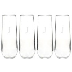 e469c6f9619 (Letter J) - Cathy's Concepts Personalised Stemless Champagne Toasting  Flutes, Set of 4