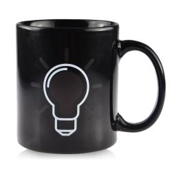 Light Bulb Pattern Changing Color Mug (Black)
