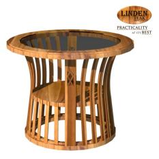 Linden Teak Handcrafted Solid Teak Wood Basket Accent Side Table Furniture  (Gold Teak Series Indoor