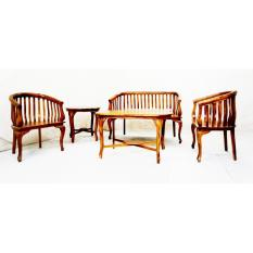 Linden Teak Handcrafted Solid Teak Wood Lenong Sofa Living Room Furniture  Set (Gold Teak Series ...