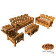 Linden Teak Handcrafted Solid Teak Wood Minimalist Solid Sofa Set (3+2+1 ...