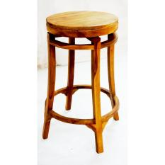 Linden Teak Handcrafted Solid Teak Wood Rotating Round Bar Stool Chair  Furniture (Gold Teak Series