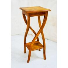 Linden Teak Handcrafted Solid Teak Wood Square Telephone Stand Furniture  (Gold Teak Series Indoor Design