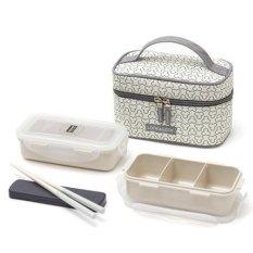 LOCK & LOCK CLOVER Lunch Box 2 Layer Set (Ivory) - intl