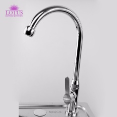 Lotus Elegant Stainless Steel Kitchen Sink Goose Neck Water Tap Faucet  (Silver)