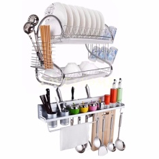 Love&home 2 Tiers Kitchen Dish Drying Rack W/ Tray (silver) W/free Aluminum Seasoning Kitchen Wall Rack (silver) By Love&home.