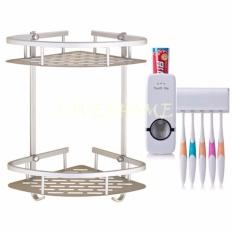 LOVE&HOME Bathroom Corner Double Layer Triangle Rack Holder Shelf Storage Organizer (Silver) w/