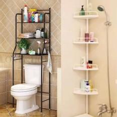 Love Home Floor Toilet Bathroom Storage Rack And Shelf With Adjule Corner Pole Caddy Shower Organizer